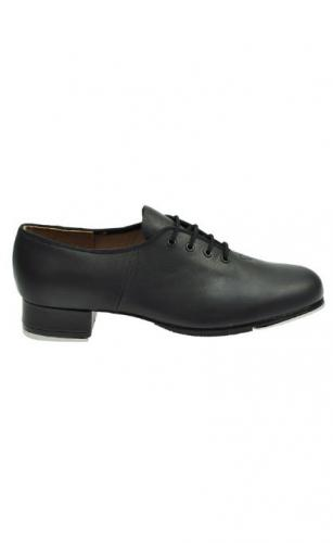 'Strike' black canvas low heeled tap shoe with fitted heel and toe taps from Starlite.